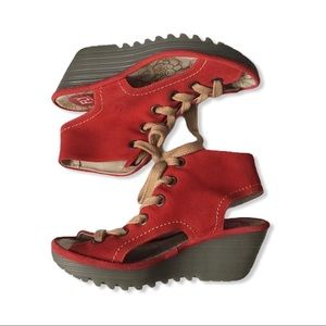 Red Fly London Lace Up Wedge Sandals.